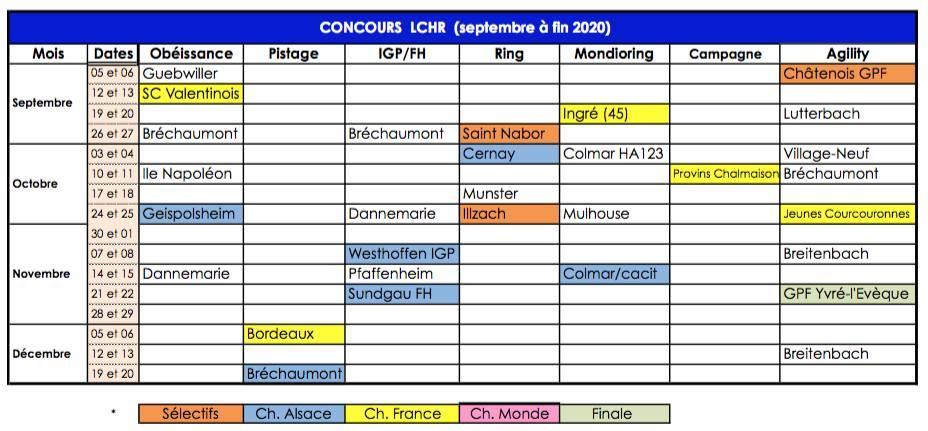 Calendrier fin 2020